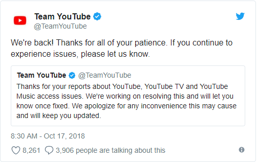 YouTueb Went Down